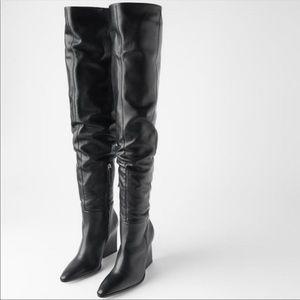 ZARA Genuine leather thigh high boots NTW
